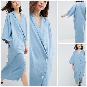 ASOS Buttoned Kimono Denim Dress Light Blue Wash